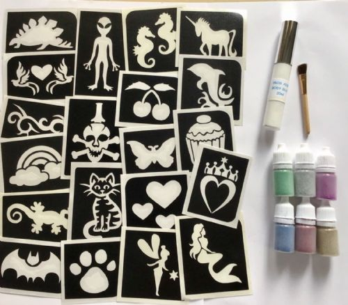 GIRLS/BOYS MIXED PARTY GLITTER TATTOO KIT 20 STENCILS/6 PUFFERS does 100 tattoos